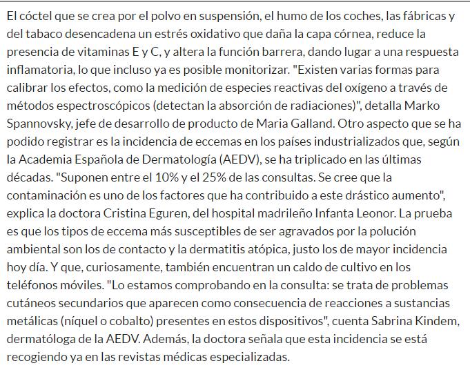 dermatologo madrid - piel contaminacion