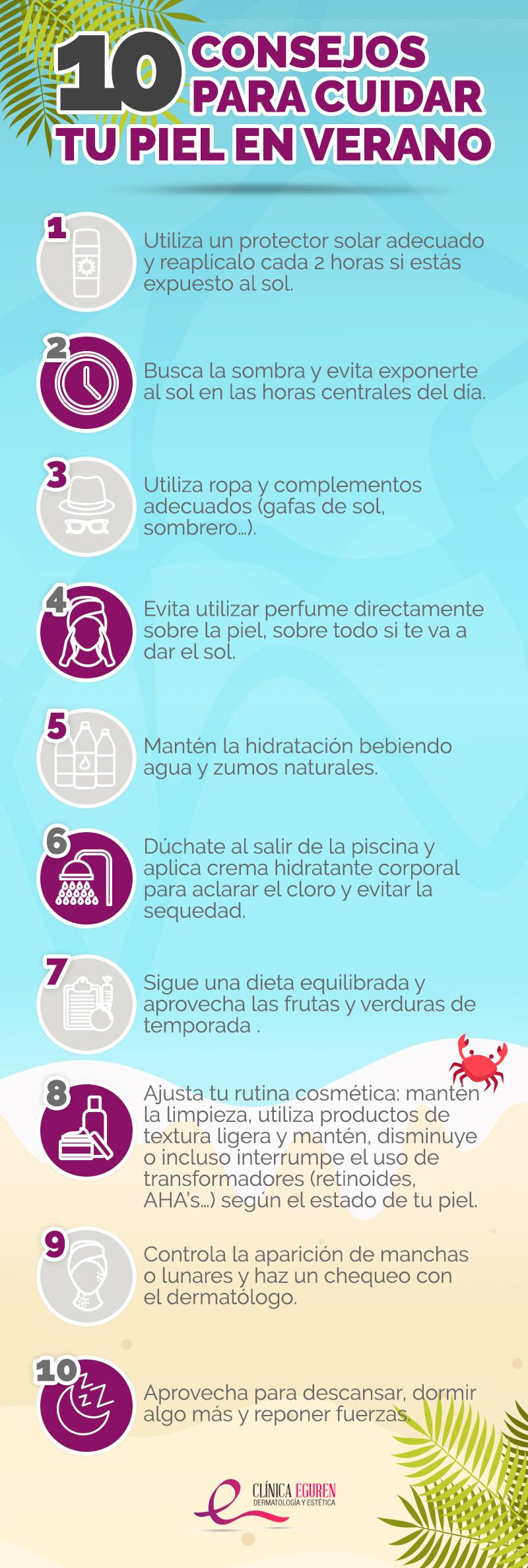 consejos para cuidar la piel en verano infografía
